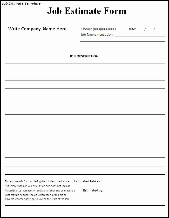 Free Printable Contractor Proposal forms Lovely 10 Job Estimate Templates Excel Pdf formats