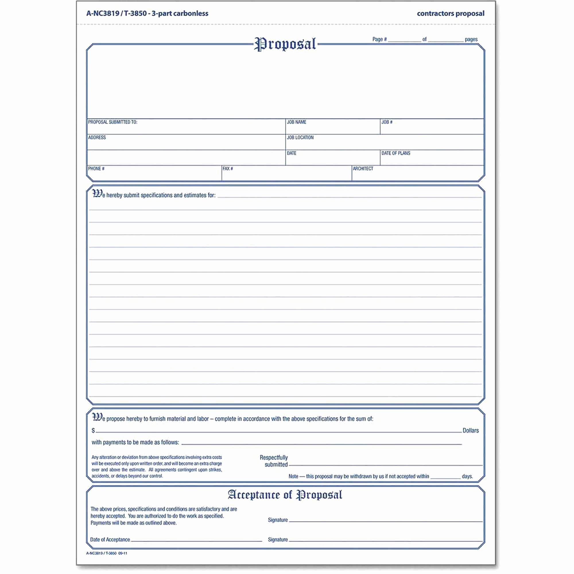Free Printable Contractor Proposal forms New Free Print Contractor Proposal forms Construction Proposal
