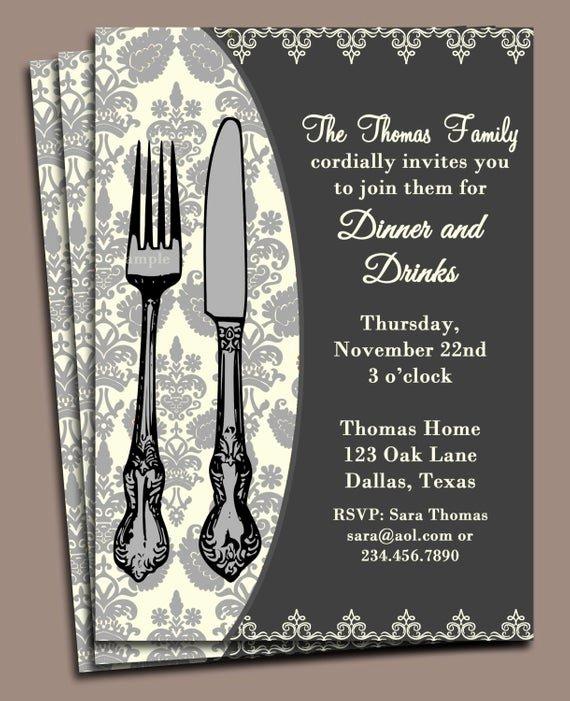 Free Printable Dinner Invitations Beautiful Dinner Invitation Printable or Printed with Free Shipping