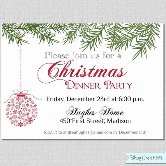 Free Printable Dinner Invitations Beautiful Items Similar to Christmas Dinner Printable Invitation