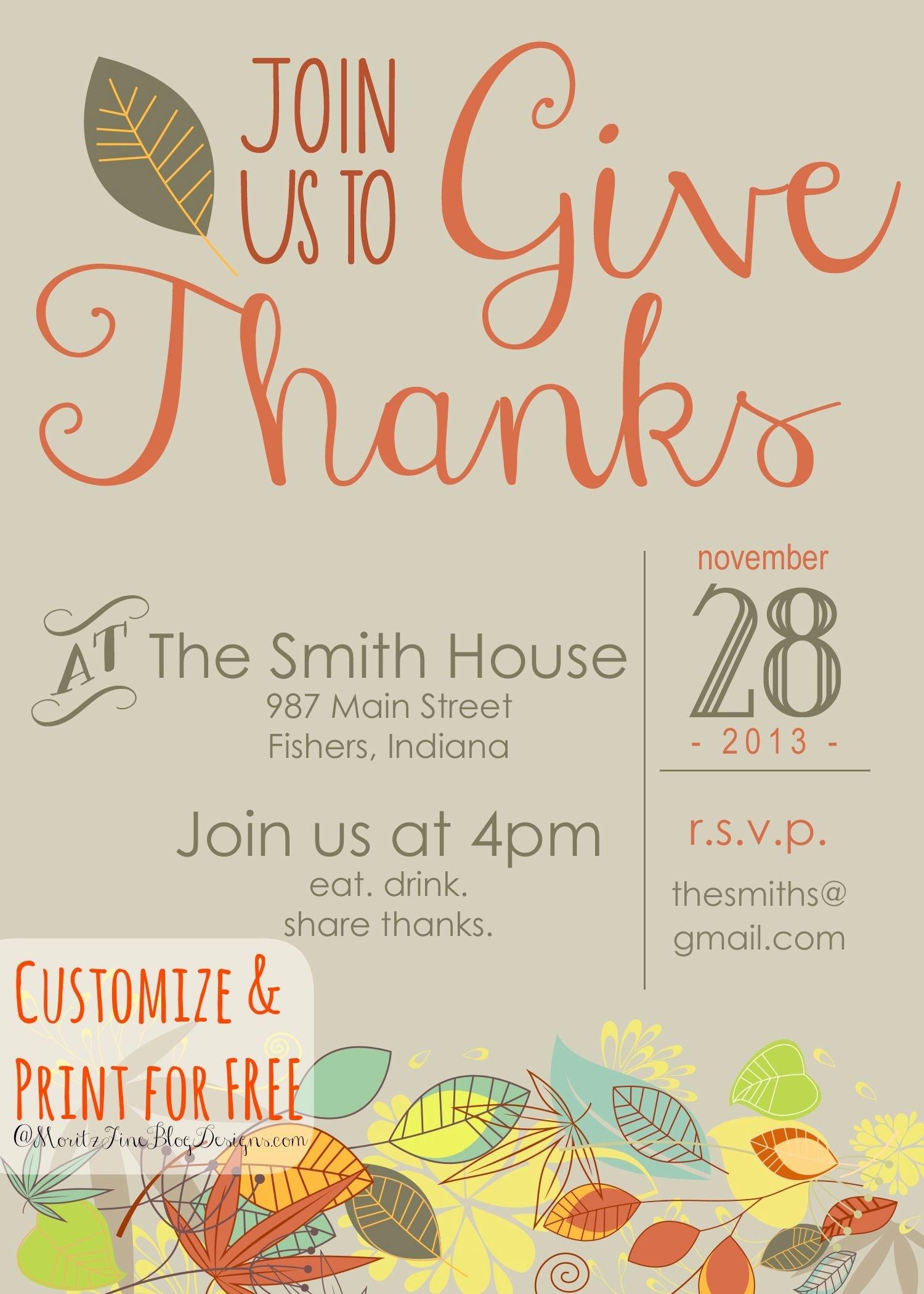 Free Printable Dinner Invitations Elegant Thanksgiving Invitation Free Printable