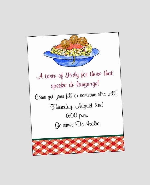 Free Printable Dinner Invitations Fresh Spaghetti Pasta Invitation Printable Italian Dinner