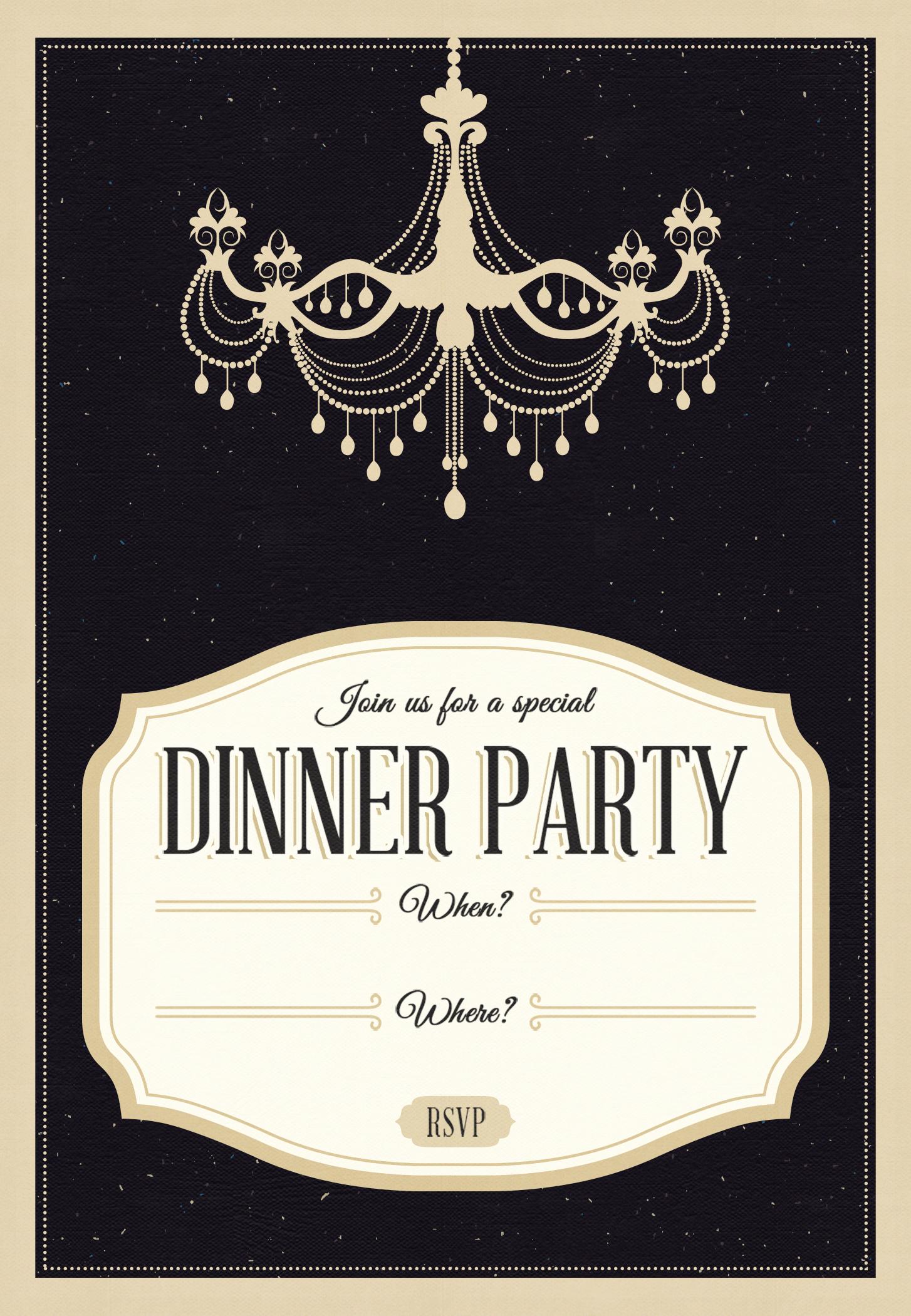 Free Printable Dinner Invitations Luxury Classy Chandelier Free Printable Dinner Party Invitation