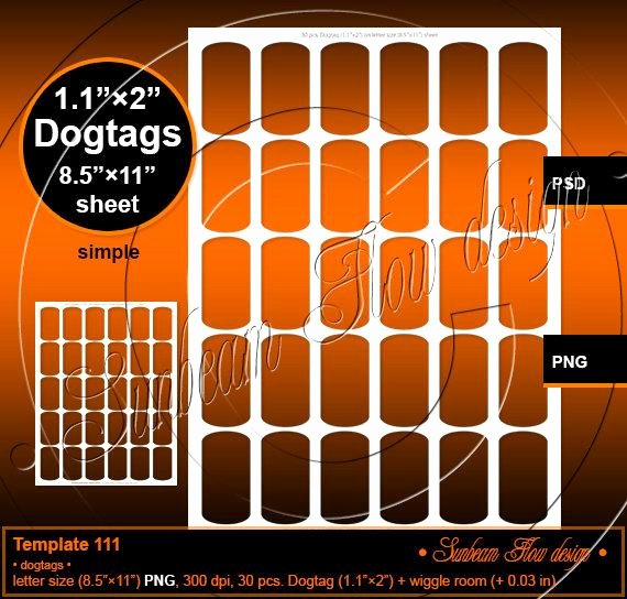 Free Printable Dog Tag Template Elegant Instant Download Dog Tags 1 1 X 2 by Sunbeamflowtemplates
