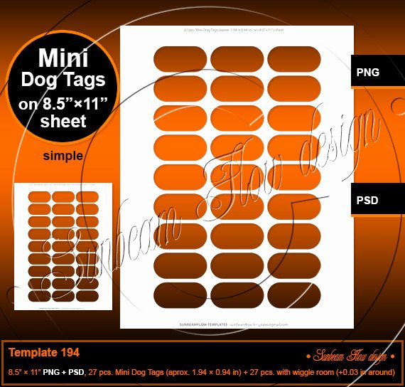 Free Printable Dog Tag Template Lovely Instant Download Mini Dog Tags 1 94 × 0 94 In Template