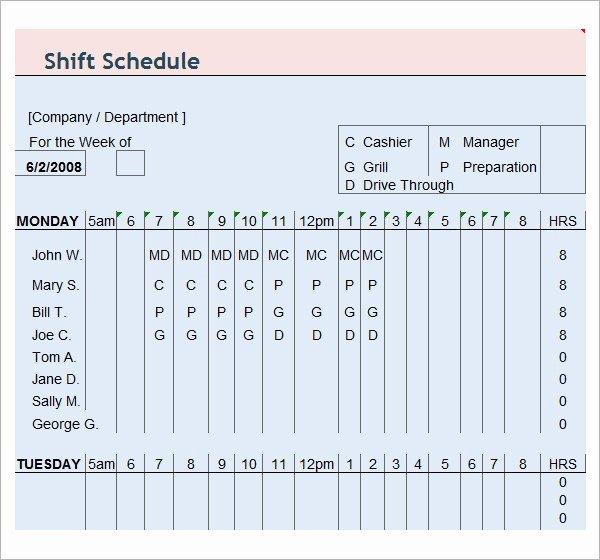 Free Printable Employee Schedule Fresh 13 Employee Schedule Samples