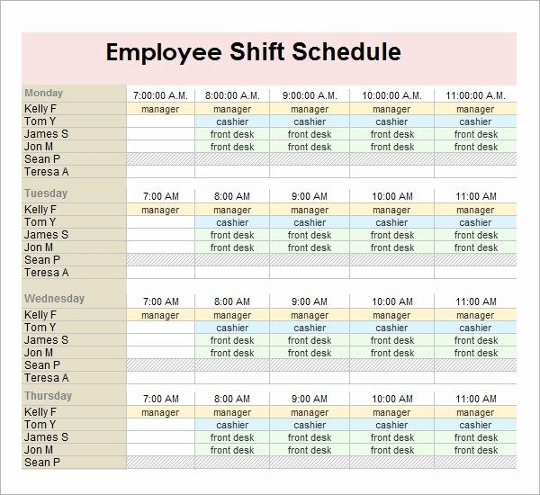 Free Printable Employee Schedule Fresh Employee Schedule Template 5 Download Free Documents In