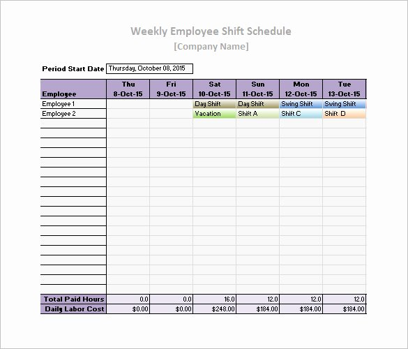 Free Printable Employee Schedule Inspirational Work Schedule Templates – 9 Free Word Excel Pdf format