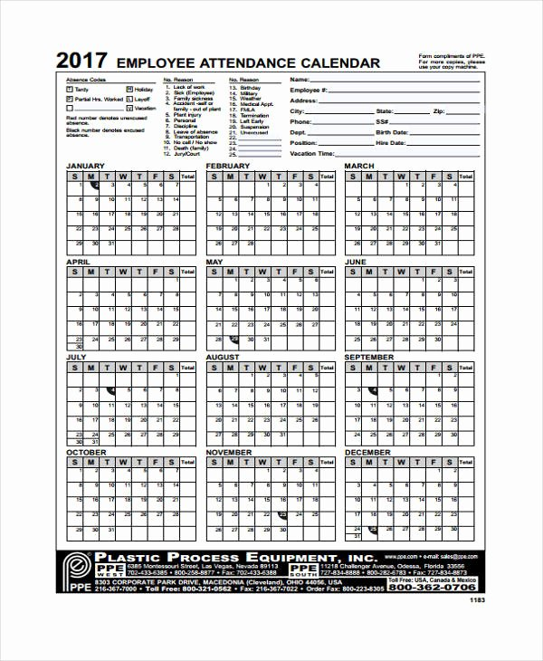 Free Printable Employee Schedule Lovely 7 attendance Calendar Templates Free Word Pdf format