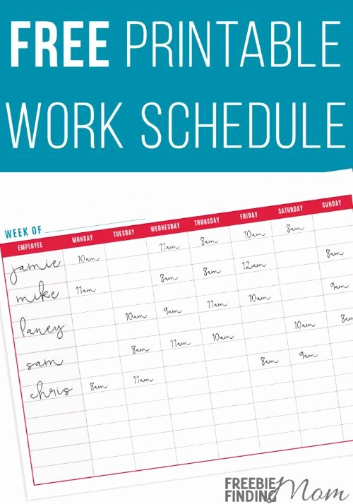 Free Printable Employee Schedule Lovely Free Printable Work Schedule