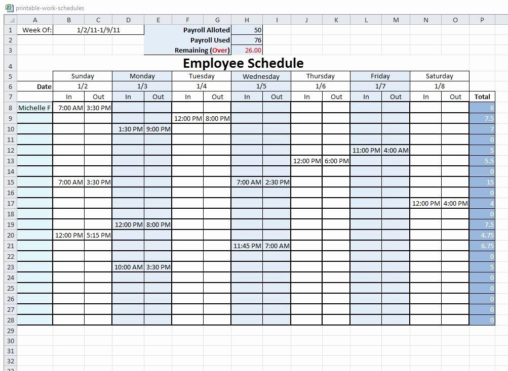 Free Printable Employee Schedule Luxury Free Printable Work Schedule