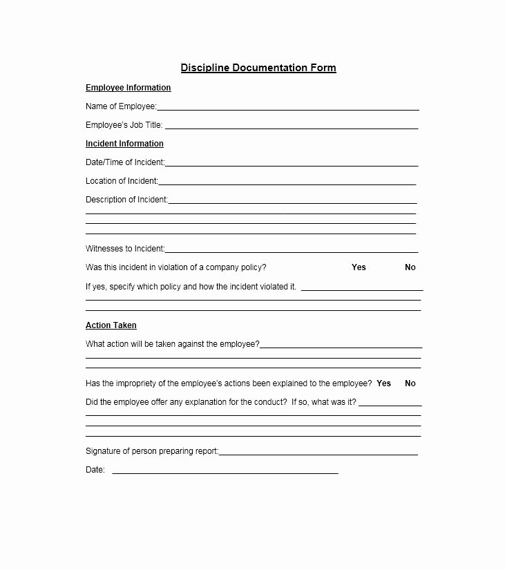 Free Printable Employee Write Up form Beautiful 40 Employee Disciplinary Action forms Template Lab