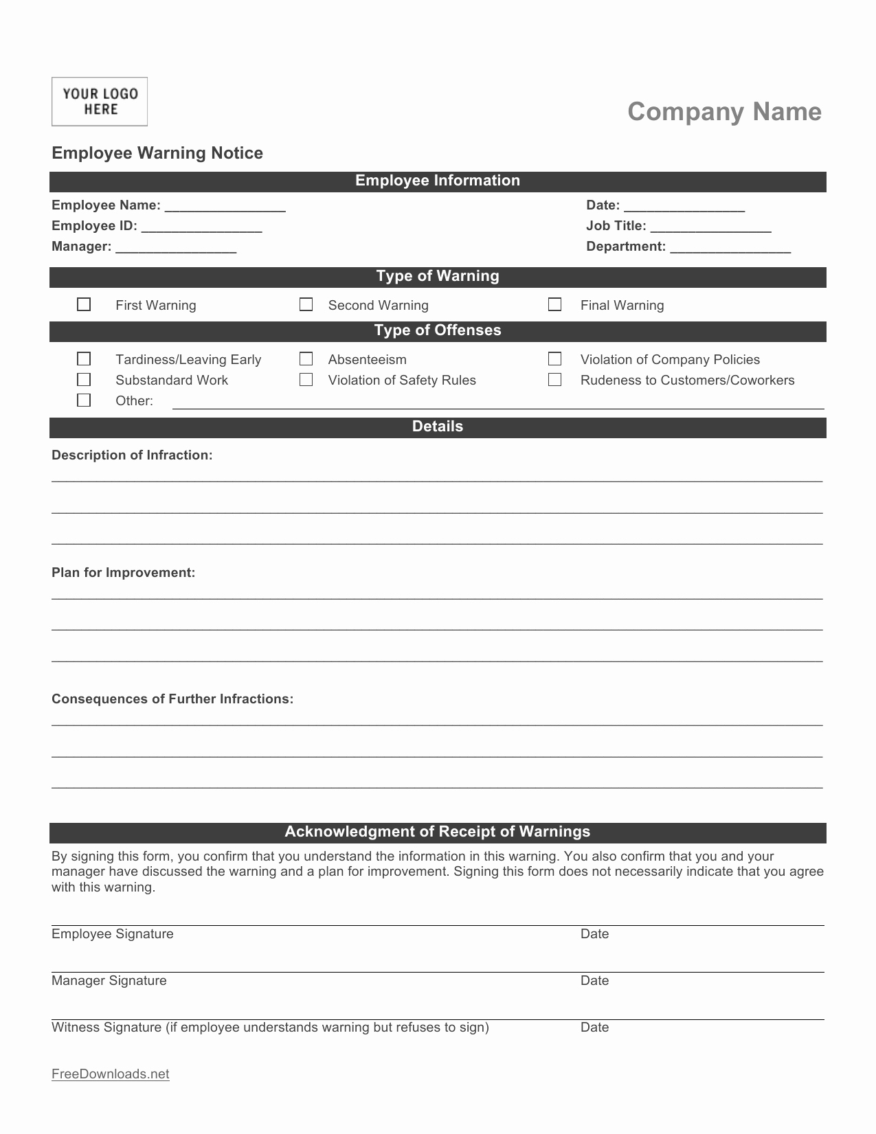Free Printable Employee Write Up form Beautiful Download Employee Write Up form Pdf Rtf