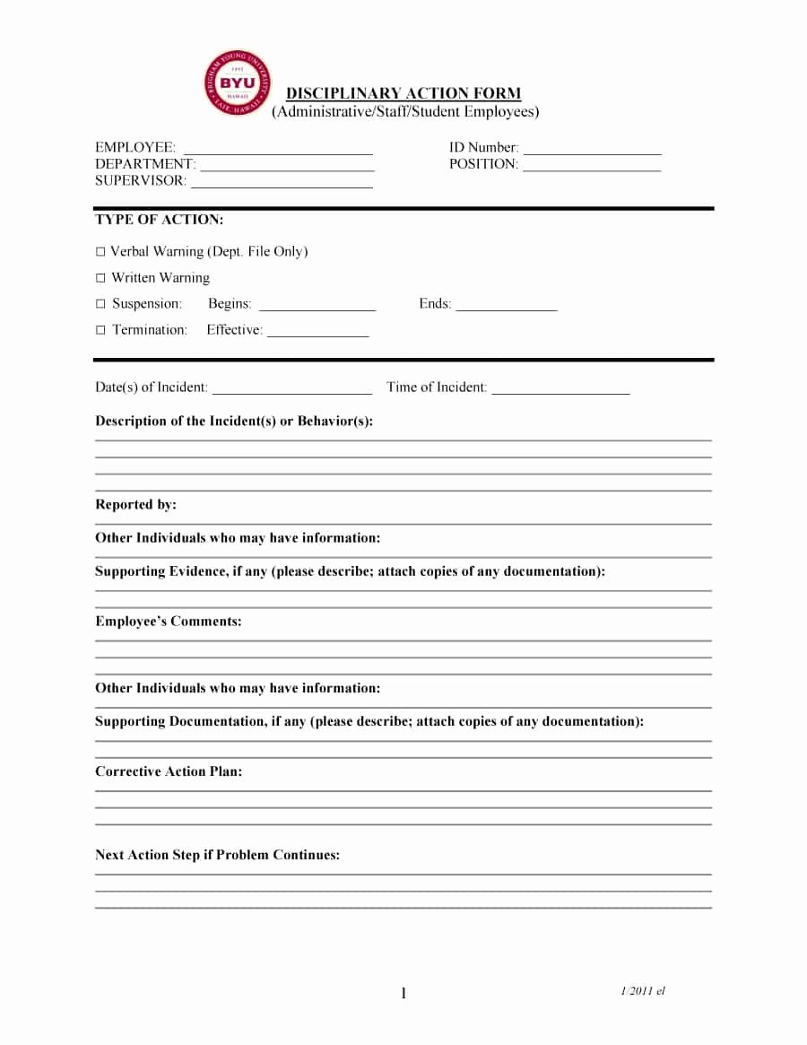 Free Printable Employee Write Up form Lovely 46 Effective Employee Write Up forms [ Disciplinary