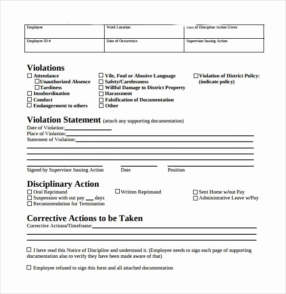 Free Printable Employee Write Up form Lovely Free Employee Write Up form Printable Excel Template