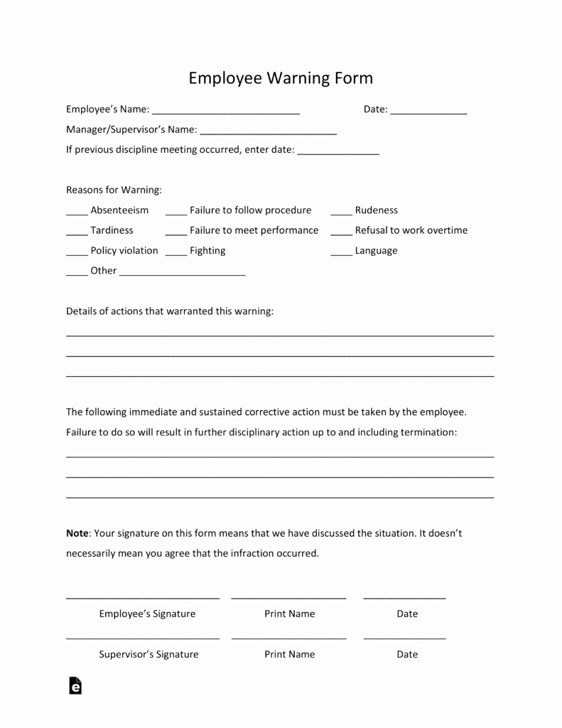 Free Printable Employee Write Up form New Free Employee Warning Notice Template Pdf