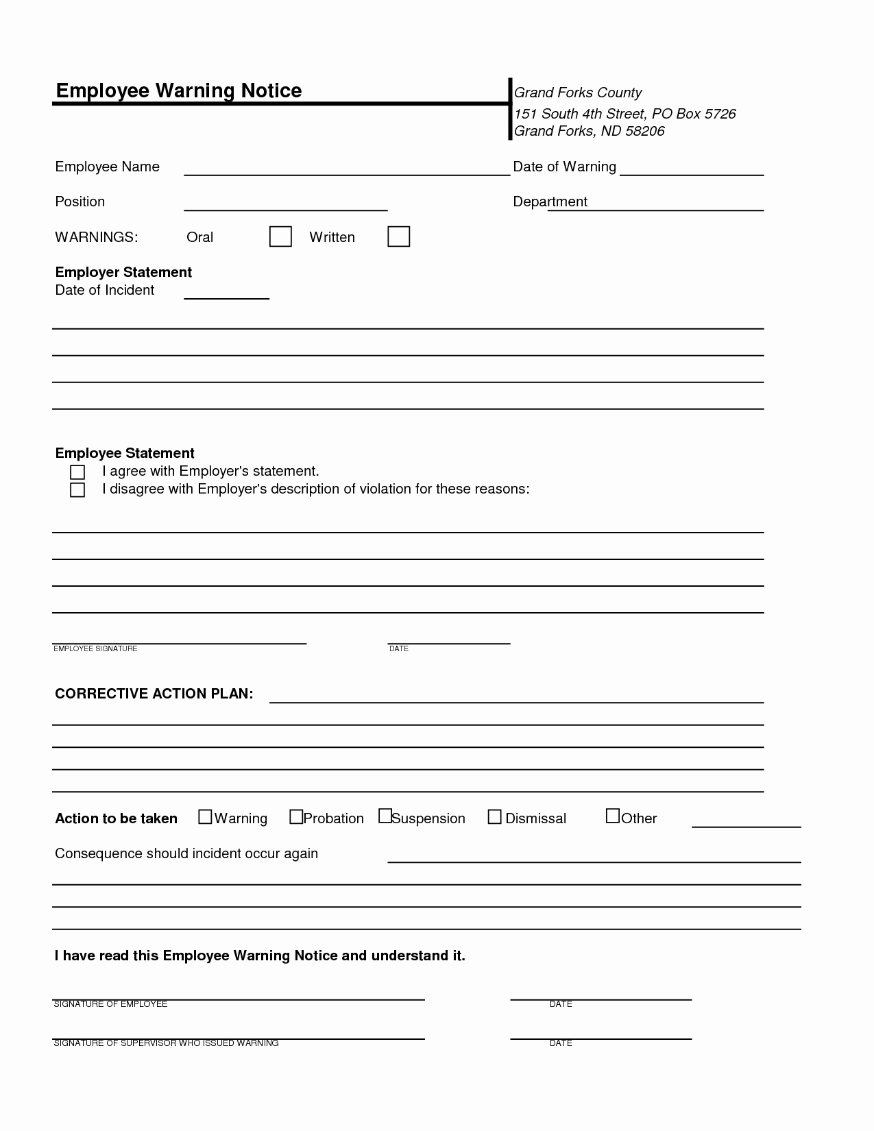 Free Printable Employee Write Up form New Free Printable Employee Warning Notice