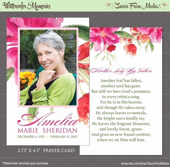 Free Printable Funeral Prayer Card Template Best Of Funeral Memorial Prayer Card and Bookmark Printable