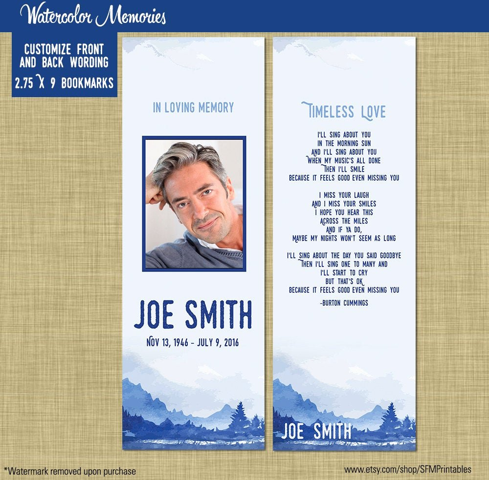 Free Printable Funeral Prayer Card Template Fresh Male Funeral Memorial Prayer Card or Bookmark by