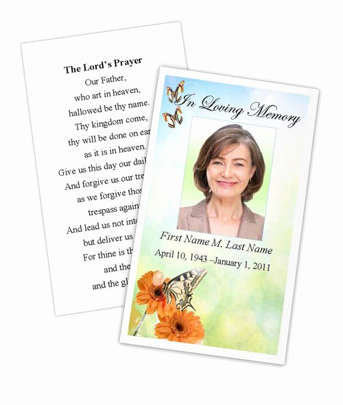 Free Printable Funeral Prayer Card Template New Beautiful butterfly Memorial Prayer Card Template