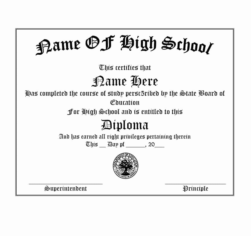 Free Printable Ged Certificate Lovely 30 Real & Fake Diploma Templates High School College
