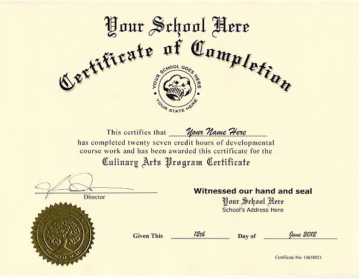 Free Printable Ged Certificate Lovely Culinary Certificate Fake Culinary Certificate [culinary