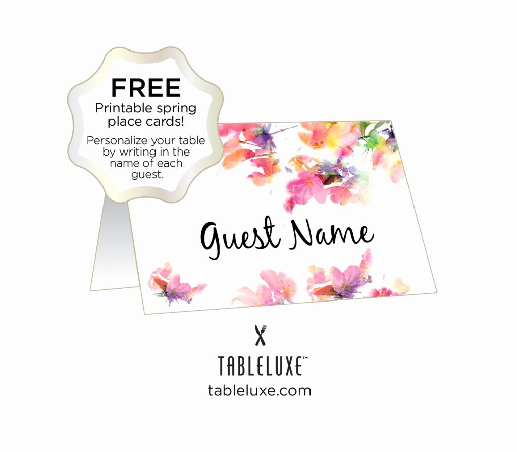 Free Printable Graduation Name Cards Awesome Tableluxe Printable Spring Place Cards