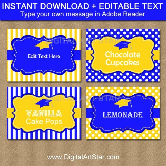 Free Printable Graduation Name Cards Elegant Royal Blue and Yellow Graduation Candy Buffet Labels
