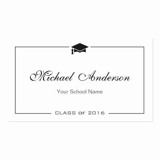 Free Printable Graduation Name Cards Fresh Graduation Name Card Elegant Classic Insert Card Double
