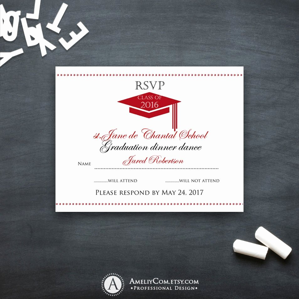 Free Printable Graduation Name Cards New Graduation Rsvp Card Printable Template Red High School
