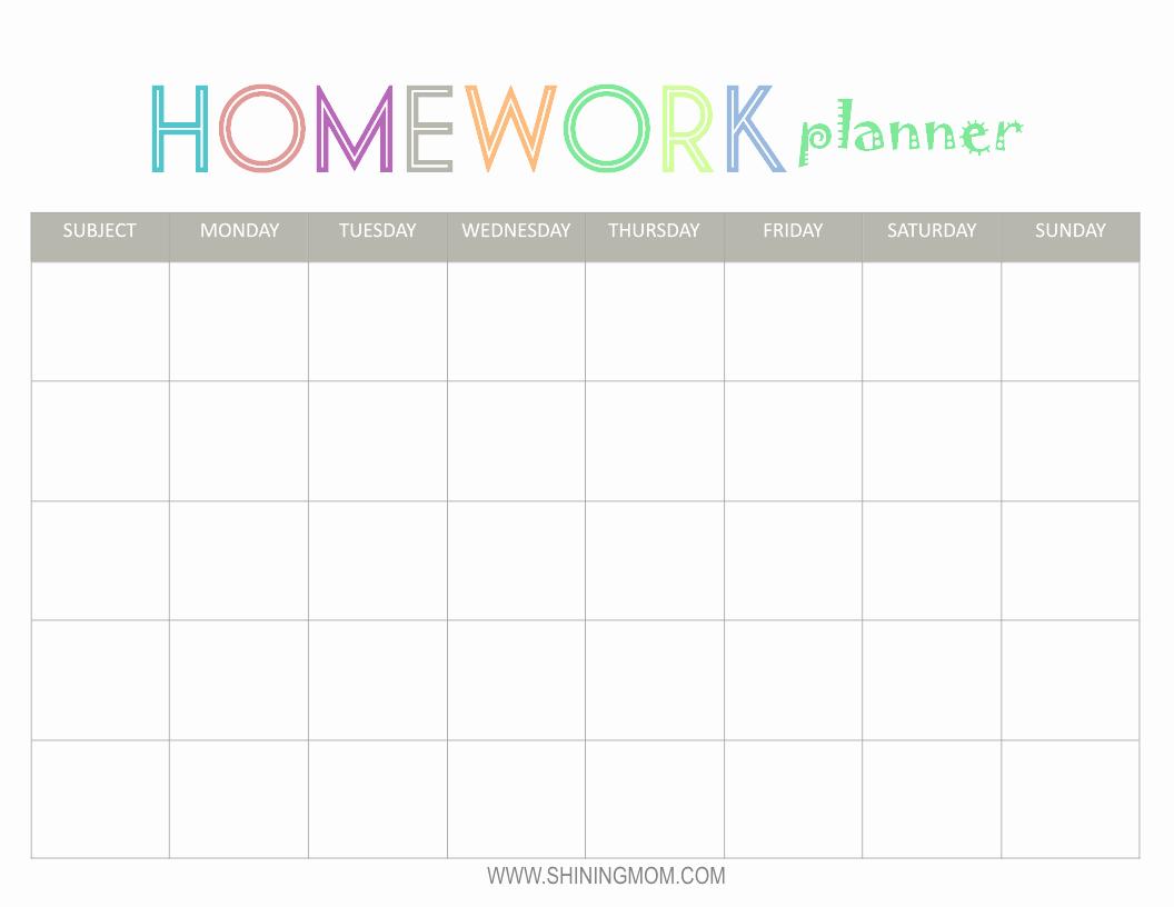 Free Printable Homework Planner Beautiful Free Printable Homework Planner