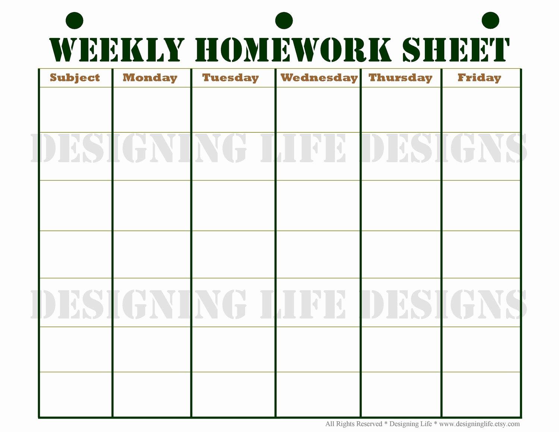 Free Printable Homework Planner Best Of Homework Planner Schedule and Weekly Homework by Designinglife