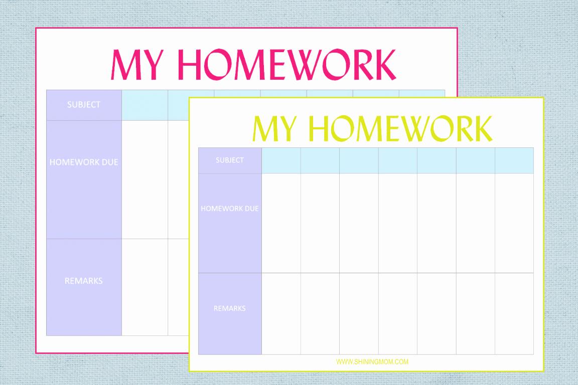 Free Printable Homework Planner Fresh Free Printable Homework Planner