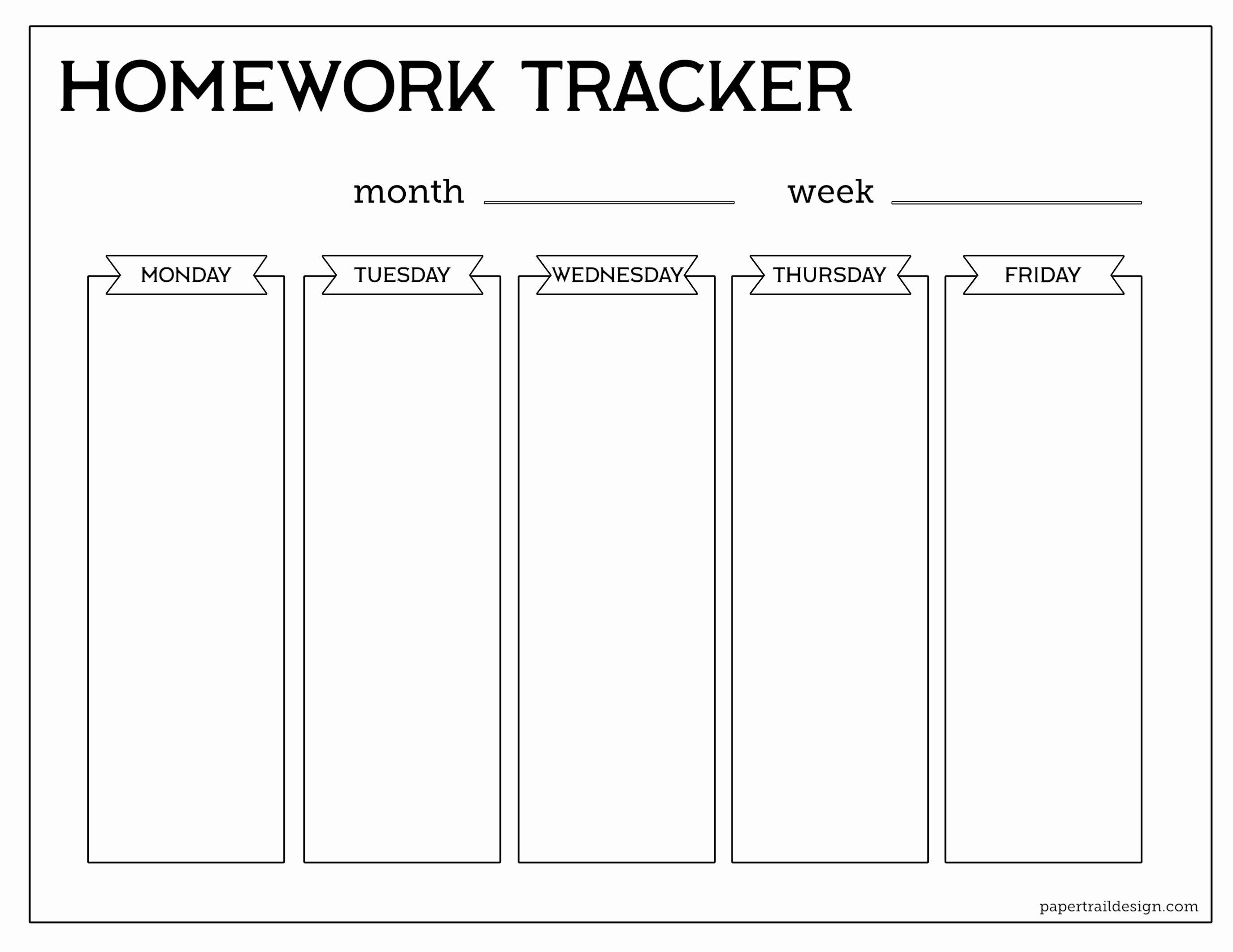 Free Printable Homework Planner New Free Printable Student Homework Planner Template Paper