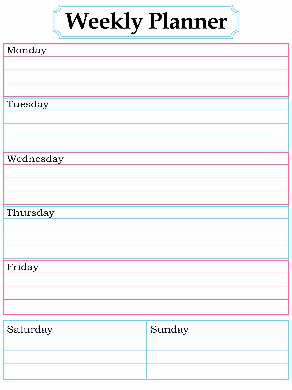 Free Printable Homework Planner New Weekly Planner Printable Nice Simple Clean Lines