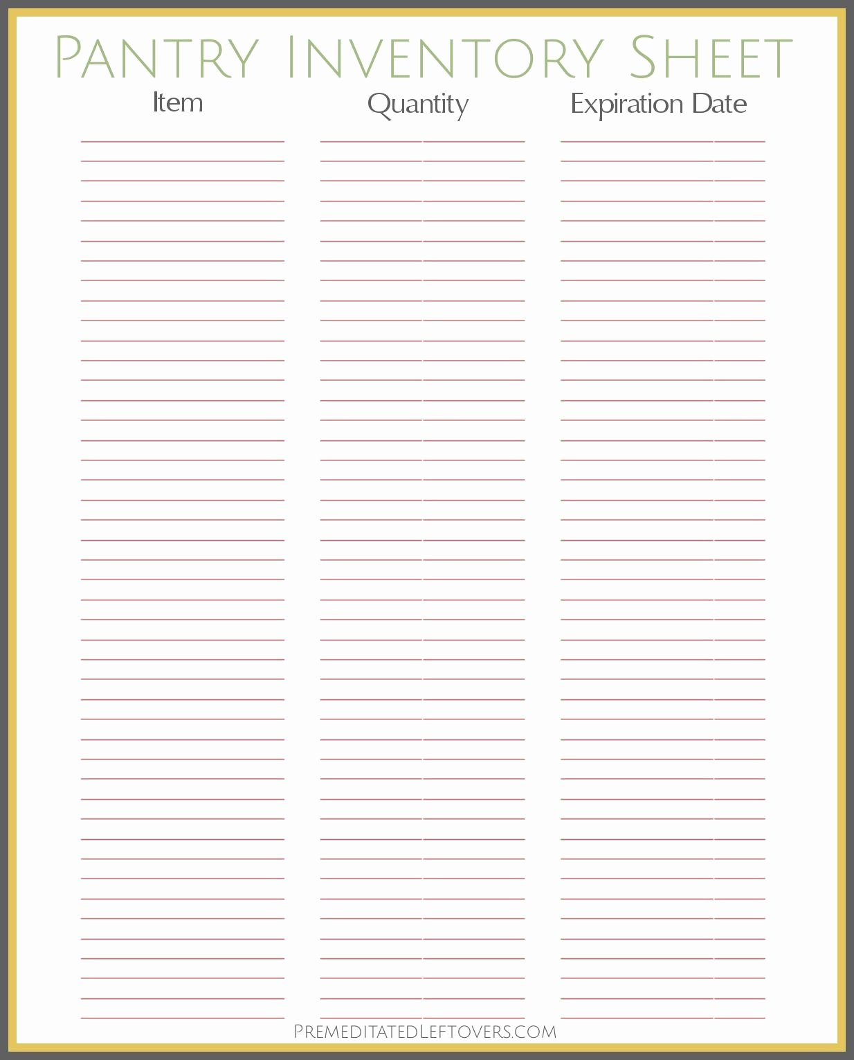 Free Printable Inventory Sheets Beautiful Free Printable Pantry Inventory Sheet …