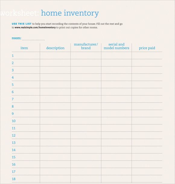Free Printable Inventory Sheets Pdf Luxury 9 Home Inventory Templates