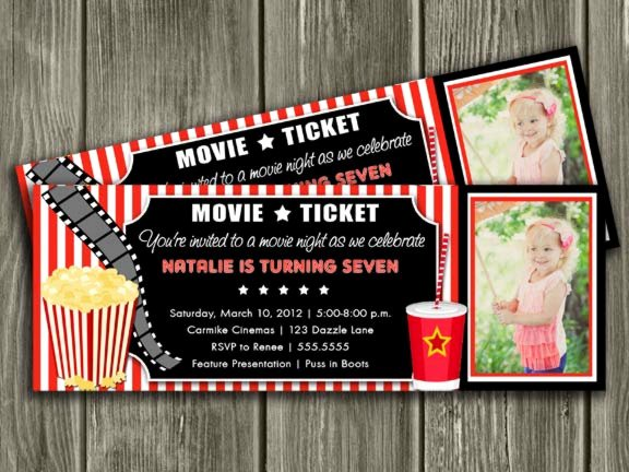 Free Printable Movie Ticket Invitations Beautiful Printable Movie Ticket Birthday Invitation Movie Night