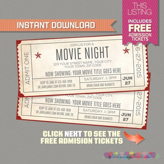 Free Printable Movie Ticket Invitations Best Of Movie Night Invitation with Free Admission Tickets Movie
