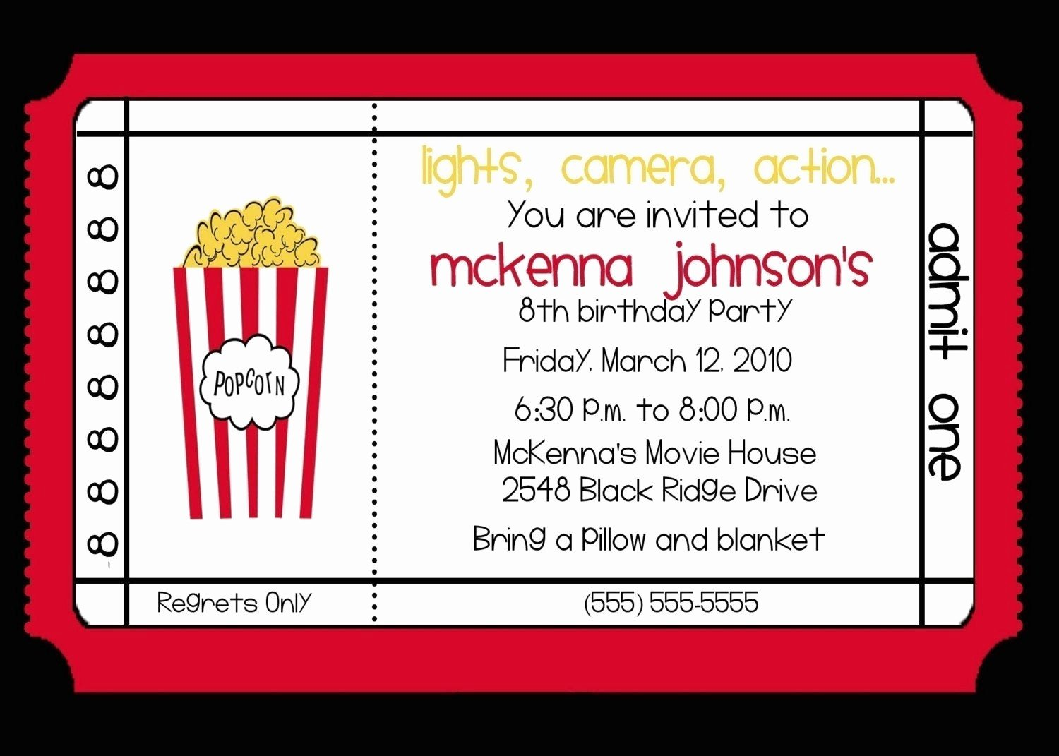 Free Printable Movie Ticket Invitations Fresh Movie theater Birthday Party Invitation by Nattysuedesigns1