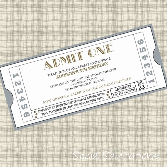 Free Printable Movie Ticket Invitations Fresh Printable Movie Ticket Party Invitation