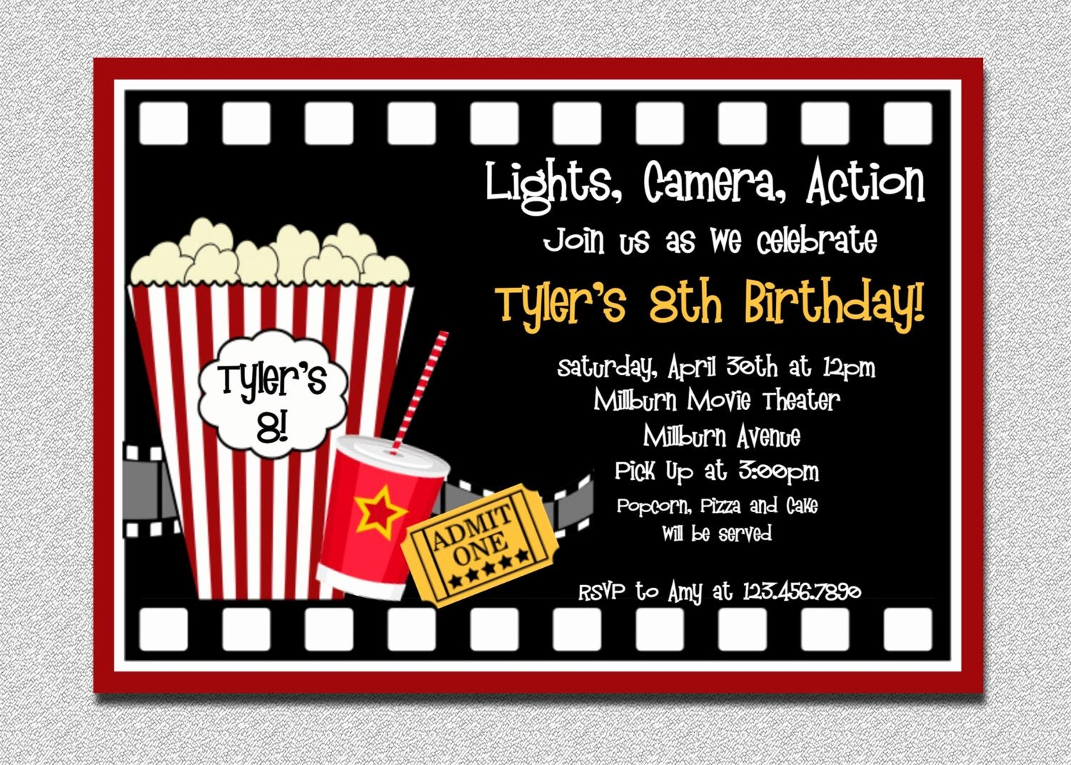 Free Printable Movie Ticket Invitations Inspirational Movie Birthday Invitation Movie Night Birthday Party
