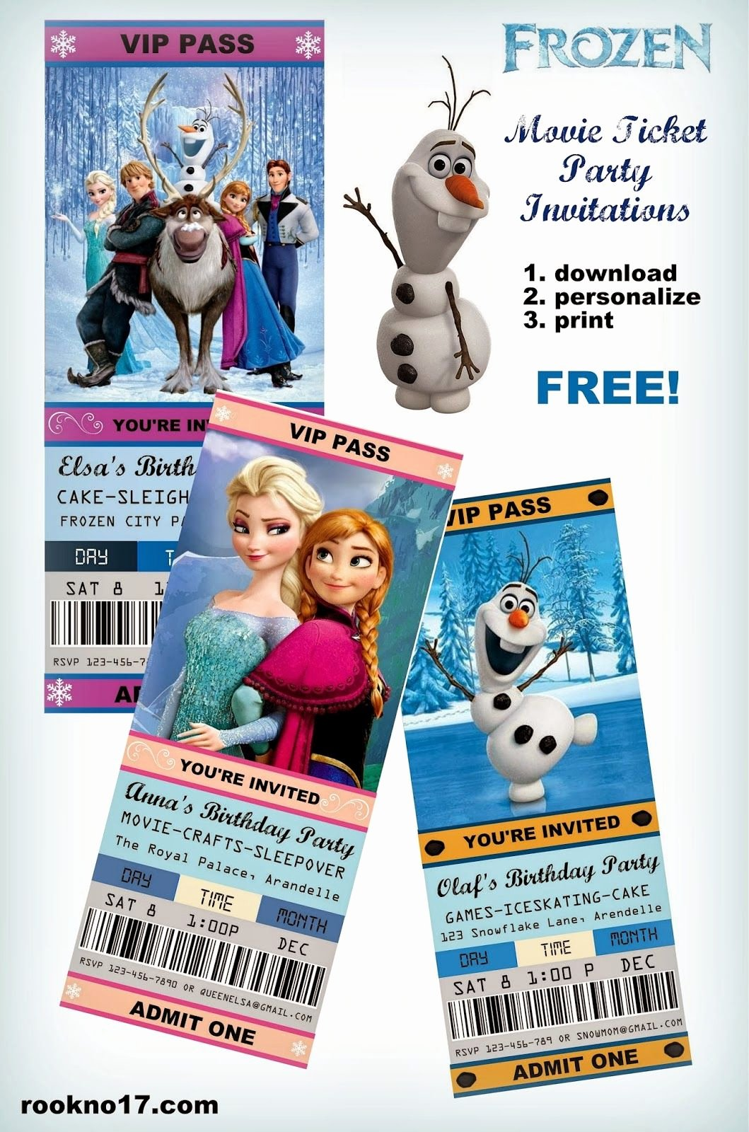 Free Printable Movie Ticket Invitations Lovely Free Frozen Invitations On Pinterest