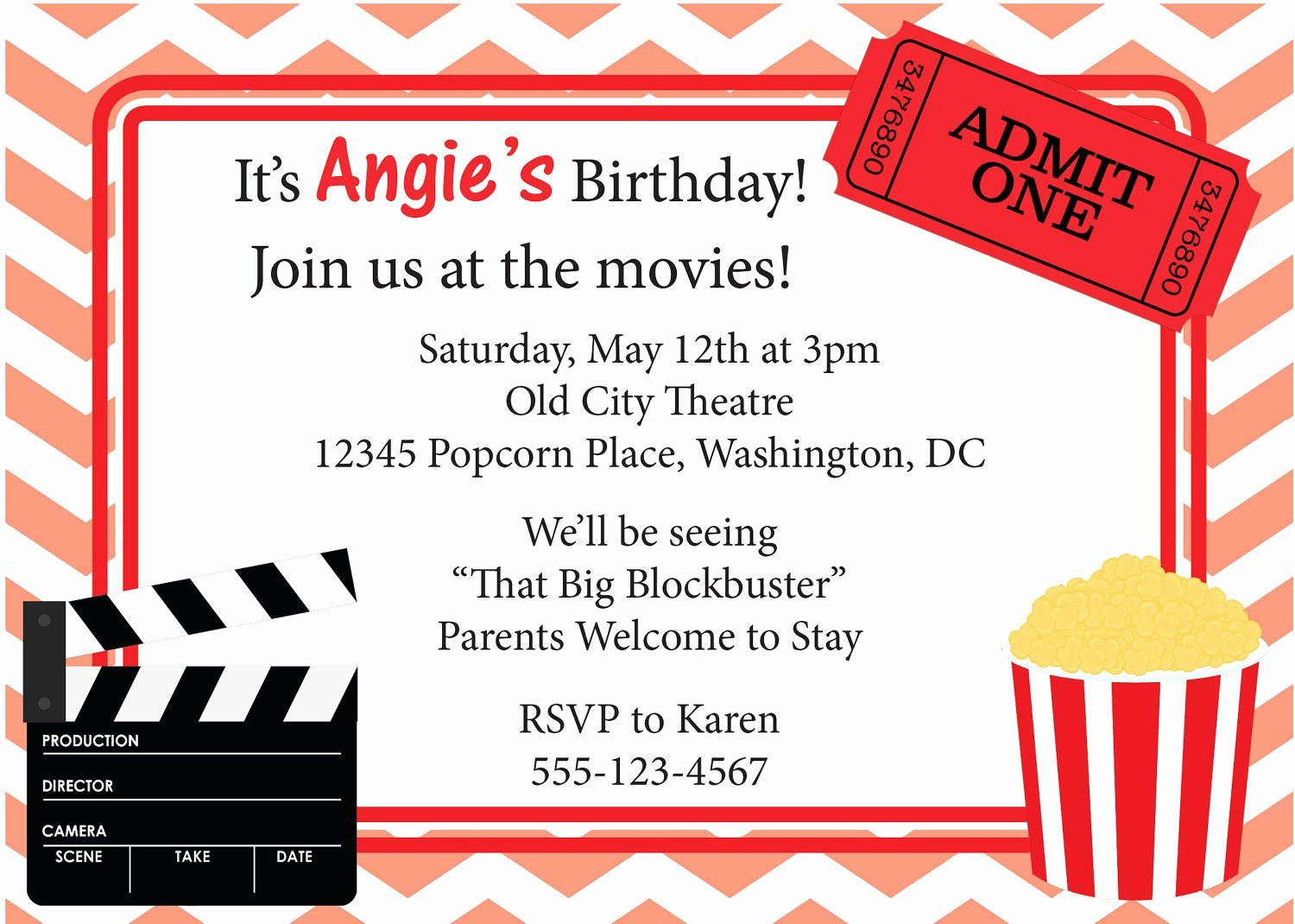Free Printable Movie Ticket Invitations Lovely Movie Night Invitation Birthday Invite Diy Printable