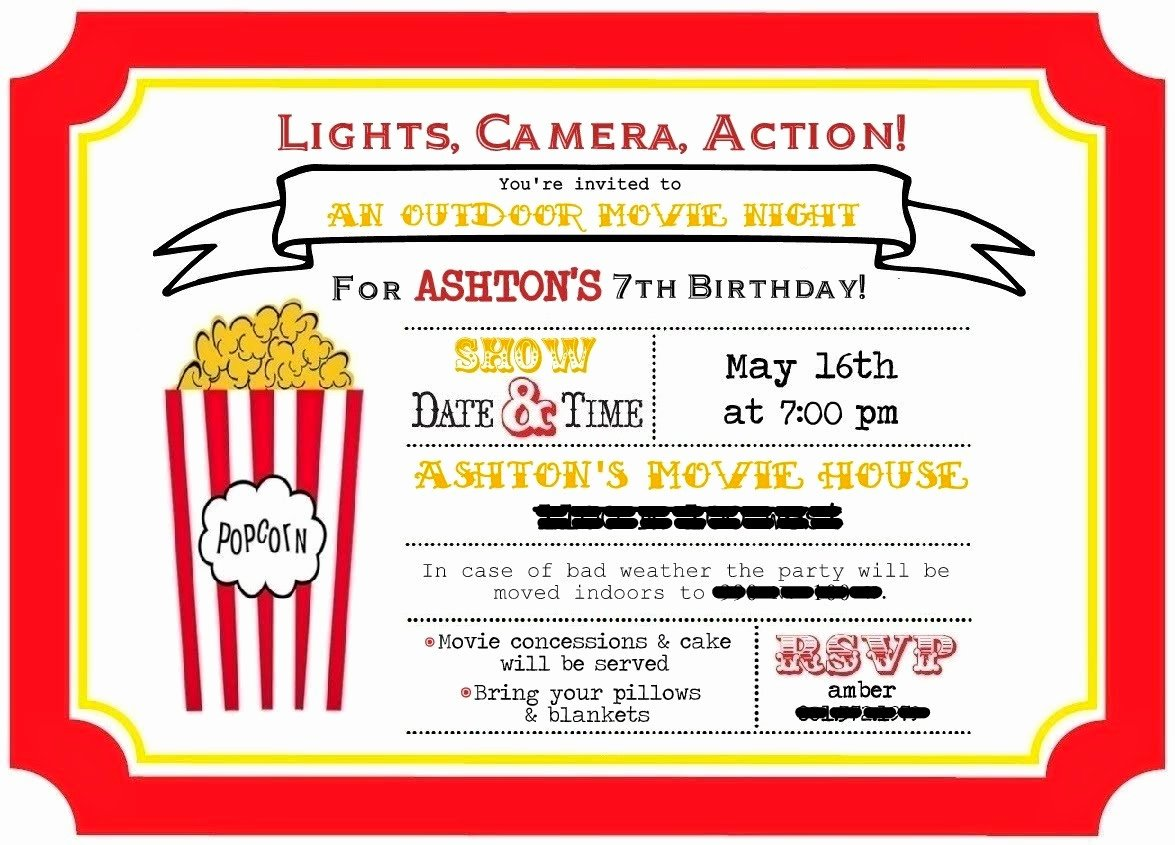 Free Printable Movie Ticket Invitations Luxury Ferguson Four ashton Turns 7 Outdoor Movie Night Birthday