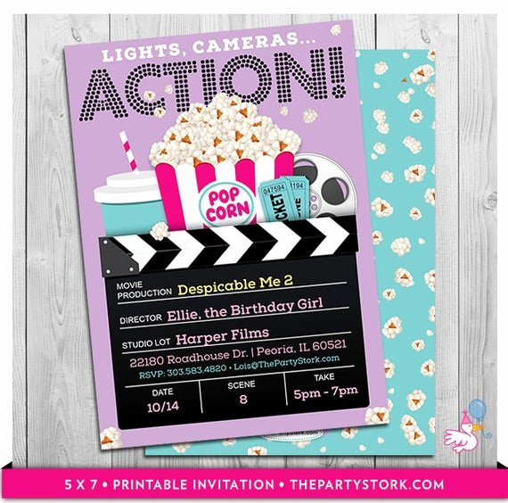 Free Printable Movie Ticket Invitations New Movie Party Invitations Printable Girls Movie Invite Movie