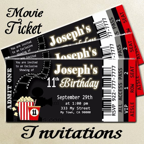 Free Printable Movie Ticket Invitations New Movie Ticket Red Carpet Party Invitation Printable Invitation