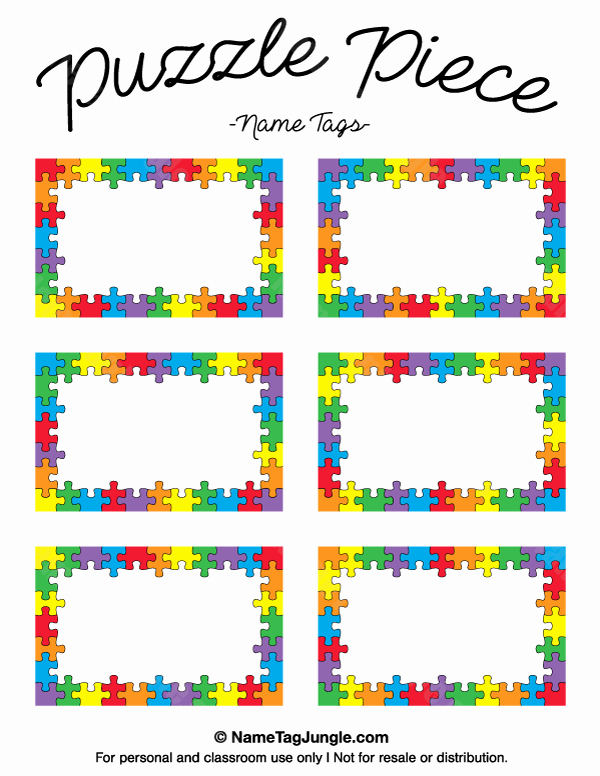 Free Printable Name Tags for Preschoolers Elegant Puzzle Piece Name Tags