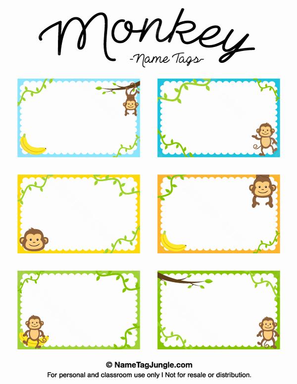 Free Printable Name Tags for Preschoolers Fresh Printable Monkey Name Tags