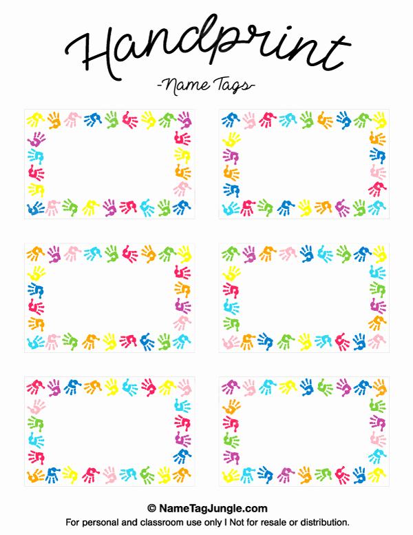 Free Printable Name Tags for Preschoolers Inspirational Printable Handprint Name Tags